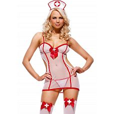 Костюм  Медсестричка   Костюм  Медсестричка  состоит из трех предметов: 1) полупрозрачного платьица с красным бантиком и открытой спиной  2) трусиков-стринг  3) чепчика.