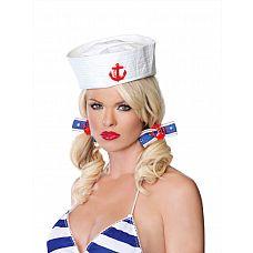 Заколка для волос с якорем  Заколка для волос сине-белого цвета с красным якорем.