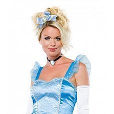 Заколка для волос  Заколка для волос из парчи голубого цвета c камеей.