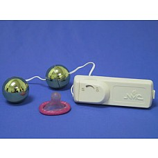 Вагинальные шарики с вибратором золотого цвета  Вагинальные шарики с вибратором золотого цвета, диаметр 3 см.