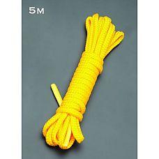Желтая веревка для связывания - 5 м.  Веревка для связывания - подходит как для новичков для простого связывания рук и ног, так и для истинных ценителей рабства.