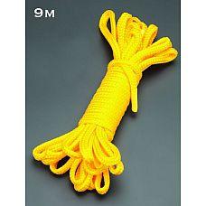 Желтая веревка для связывания - 9 м.  Веревка для связывания - подходит как для новичков для простого связывания рук и ног, так и для истинных ценителей рабства.