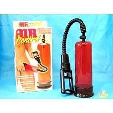 Вакуумная помпа с двумя сменными насадками  Вакуумная помпа красного цвета с поршнем для откачки воздуха. Длина колбы 21 см, диаметр 6 см. В комплекте две силиконовые насадки-уплотнители.