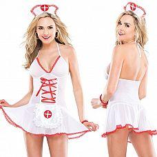 Соблазнительный бэби-долл медсестры  Эффектный бэби-долл медсестры с красной контрастной отделкой.
