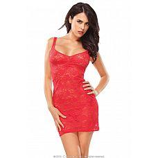 Платье из цветочного гипюра Red Heart  Красное платье из эластичного полупрозрачного гипюра, оформлено ярким цветочным принтом.