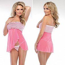 Комплект из полупрозрачного беби-долла и трусиков  Розовая струящаяся ткань бейби-долл придает образу женственность и легкость.