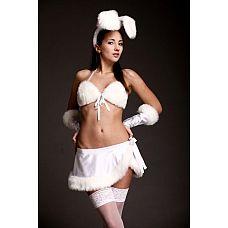 Костюм сексуальной зайки  Топ, юбка, перчатки, ободок с ушками