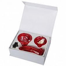 Мужской набор верности красного цвета с насадками большого размера  Игрушка является мужским аналогом женского  пояса верности .