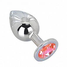 Большой стальной плаг с розовым кристаллом Pink Bubble Gum - 9,5 см.  Гладкий большой плаг из отполированной до блеска стали с кристаллом нежно-розового цвета в основании.