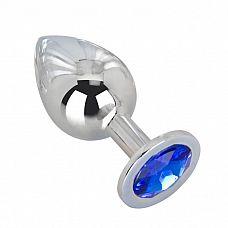 Большой стальной плаг с синим кристаллом Blue Space - 9,5 см.  Гладкий большой плаг из отполированной до блеска стали с кристаллом темно-синего цвета в основании.