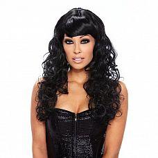 Кудрявый парик черного цвета Fierce  Красивый парик с объемной укладкой - крупными кудрявыми локонами и косой челкой.