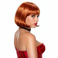 Рыжий парик-каре Playfully Passion  Рыжий яркий парик со стрижкой каре, кончики волос и челка немного закручены внутрь.
