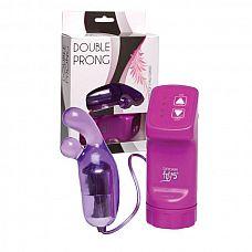 """Фиолетовая вибропулька с  пальчиками  и выносным пультом управления Double Prong  Фиолетовая вибропулька с """"пальчиками"""" и выносным пультом управления Double Prong."""