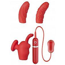 Красная вибропуля с 3 мягкими насадками NEON SWEET PASSION 10FUNC. VIBRATOR KIT  Красная вибропуля с 3 мягкими насадками NEON SWEET PASSION 10FUNC.