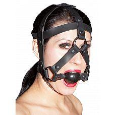 Черная маска из кожи с кляпом в форме шарика  Черная маска из кожи с кляпом в форме шарика, закрепляется регулируемыми ремнями.