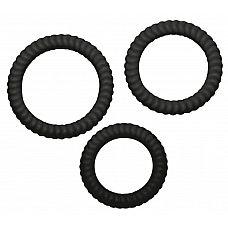 Набор из трех черных эрекционных колец  Набор из трех эрекционных колец, которые можно использовать отдельно друг от друга, а можно комбинировать, подбирая наиболее подходящий вариант.
