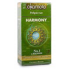 Презервативы анатомической формы с особой ребристой структурой Okamoto Harmony - 12 шт.  Okamoto Harmony - презервативы анатомической формы с накопителем, силиконовой смазкой и особой «перекрестной» ребристой структурой.