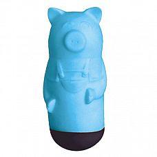 Голубой вибростимулятор Beat Up Vibes в форме поросёнка  Музыкальный массажёр в виде фигурки поросёнка с приятным на ощупь покрытием.