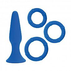 Синий набор Posh Silicone Performance Kits: анальная пробка и 3 эрекционных кольца  Анальный набор POSH из медицинского силикона: анальная пробочка небольшого диаметра на присоске с набором из трех силиконовых колец разного диаметра.