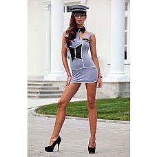 Костюм обворожительной полисвуман  Игровой костюм женщины из полиции: платье сиреневое с отделкой, воротник-галстук, фуражка.