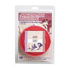 Красная веревка для фиксации Japanese Silk Love Rope - 3 м.  Веревка Japanese Silk Love Rope красная из коллекции  Японский шелк  идеально подходит как для новичков (для простого связывания рук и ног), так и для искусства шибари (для истинных ценителей японского рабства).