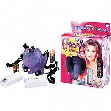 Фиолетовая вибробабочка с фаллосом  BUTTERFLY OBSESSION  Клиторальный вибростимулятор на эластичных ремешках BUTTERFLY OBSESSION.