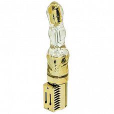 Золотистый вибромассажёр с виброэлементом в кончике - 16 см.  Золотистый вибромассажёр с виброэлементом в кончике.
