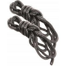 Набор Silky Rope Kit: 2 чёрные верёвки для шибари   Набор для шибариPSilky Rope Kit.