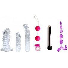 Набор для любовных игр Fantasy Kit из 7 предметов  Набор для любовных игр Fantasy Kit из 7 предметов: вибратор, вагинальные шарики, 3 насадки, эрекционное кольцо с вибрацией, анальная цепочка.