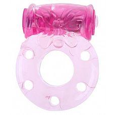 Розовое эрекционное кольцо с бабочкой на вибропуле  Эластичное эрекционное виброкольцо с бабочкой на вибропуле.