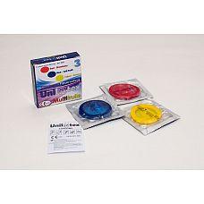 Разноцветные ароматизированные презервативы Unilatex Multifruits - 3 шт.  Презервативы стандартного размера, гладкая поверхность, эргономичной формы, цветной латекс красного, желтого и синего цветов, в натуральной гипоаллергенной смазке на основе силиконового масла с ароматом клубники, банана и мультифрукта.