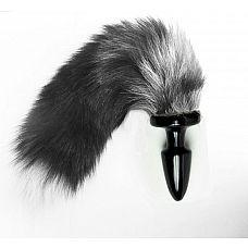 Пробка с длинным хвостом Серебристая Лиса - 11 см.  Эта анальная пробка с натуральным хвостом подойдет для новичков.