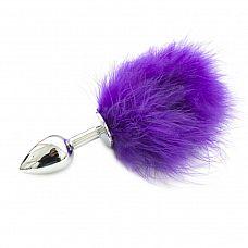 Металлическая пробка с фиолетовым хвостиком - 11 см.  Эта анальная пробка с натуральным хвостом подойдет для новичков.