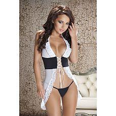 Сорочка Nadin со шнуровкой на груди  Шикарная черно-белая сорочка с корсетом, затянутым тонкими ленточками на талии.