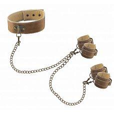 Кожаный ошейник с наручниками OUCH! BROWN   Великолепный БДСМ-набор из ошейника и пары оков для рук и ног, изготовленных из натуральной кожи с красивой белой строчкой.