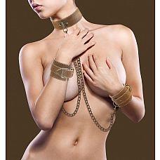 Ошейник с наручниками OUCH! Brown   Великолепный БДСМ-набор из ошейника и наручников, изготовленных из натуральной кожи с красивой белой строчкой.