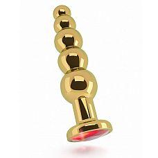 Золотистая анальная ёлочка с красным кристаллом - 14,5 см.  Роскошная анальная металлическая пробка имеет элегантный дизайн, плавные изгибы и эргономичную форму в виде елочки.