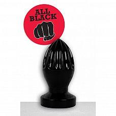 Чёрная анальная пробка большого размера в форме гранаты - 15 см.  Габаритная анальная пробка- граната  с рельефными ребрами  великолепный аксессуар для ценителей жестких анальных развлечений.
