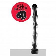 Чёрная анальная цепочка огромного размера - 41,5 см.  Анальная цепочка гигантских размеров для любителей фистига.