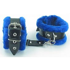 Синие оковы на ноги с мехом BDSM Light 720003ars