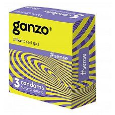 Тонкие презервативы для большей чувствительности Ganzo Sence - 3 шт.  Прозрачные презервативы Ganzo Sense цилиндрической формы с накопителем, силиконовой смазкой и ультратонкими стенками для более естественных ощущений.