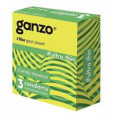 Ультратонкие презервативы Ganzo Ultra thin - 3 шт.  Прозрачные презервативы Ganzo Ultra thin цилиндрической формы с накопителем, силиконовой смазкой и супер тонкими стенками для более естественных ощущений.