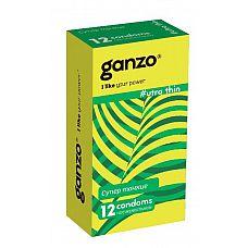 Ультратонкие презервативы Ganzo Ultra thin - 12 шт.  Прозрачные презервативы Ganzo Ultra thin цилиндрической формы с накопителем, силиконовой смазкой и супер тонкими стенками для более естественных ощущений.