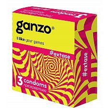 Презервативы анатомической формы с точечной и ребристой структурой Ganzo Extase - 3 шт.  Прозрачные презервативы Ganzo Extase анатомической формы с силиконовой смазкой и накопителем имеют точечную и ребристую поверхность для максимальной стимуляции партнерши.
