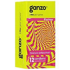 Презервативы анатомической формы с точечной и ребристой структурой Ganzo Extase - 12 шт.  Прозрачные презервативы Ganzo Extase анатомической формы с силиконовой смазкой и накопителем имеют точечную и ребристую поверхность для максимальной стимуляции партнерши.