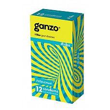 Презервативы с ребристой структурой Ganzo Ribs - 12 шт.  Прозрачные презервативы Ganzo Ribs анатомической формы с накопителем, согревающей силиконовой смазкой и ребристой поверхностью для усиления ощущений партнеров.