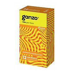 Ароматизированные презервативы Ganzo Juice - 12 шт.  Цветные презервативы Ganzo Juice цилиндрической формы с накопителем, силиконовой смазкой и ароматом: клубники, банана и тутти-фрутти.