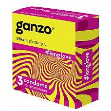 Презервативы с анестетиком для продления удовольствия Ganzo Long Love - 3 шт.  Прозрачные презервативы Ganzo Long Love цилиндрической формы с накопителем, силиконовой смазкой и бензокаином для пролонгирующего эффекта.