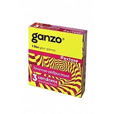 Презервативы Ganzo Extase № 3  Презервативы Ganzo Extase № 3 анатомической формы с накопителем, с точечно-ребристой структурой, в обильной смазке на водной основе.