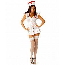 Костюм для ролевой игры - Медсестра Le Frivole, M/L,   Ах, какая медсестричка будет сегодня производить с пациентом, без сомнения,очень лечебные процедуры! Он выздоровеет моментально!  В комплекте: шапочка и коротенький халатик на пуговицах.